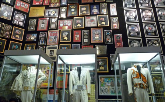 Jumpsuits, awards, and gold records fill the Trophy Room and the Racquetball Court. Elvis earned 110 gold and platinum records! Amazing!