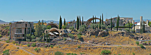 The view of Arcosanti from across the canyon