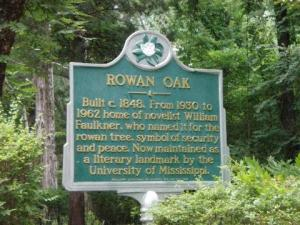This sign marks the main entrance to Rowan Oak
